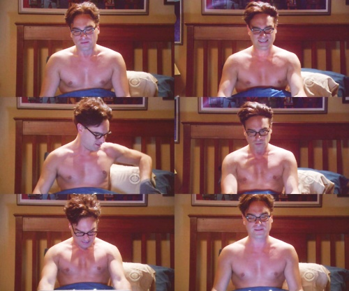 Johnny Galecki no shirt