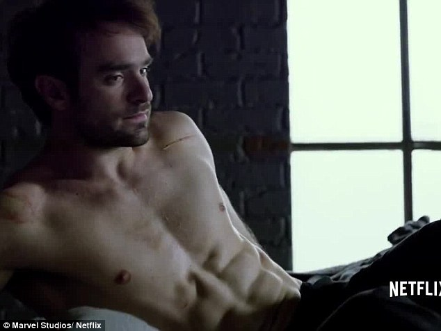 Charlie Cox shirtless in Daredevil